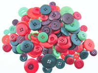 ** Mixed Christmas Buttons -  Red/Green Craft Buttons - 1 Kilo Bag - ThreadandTrimmings
