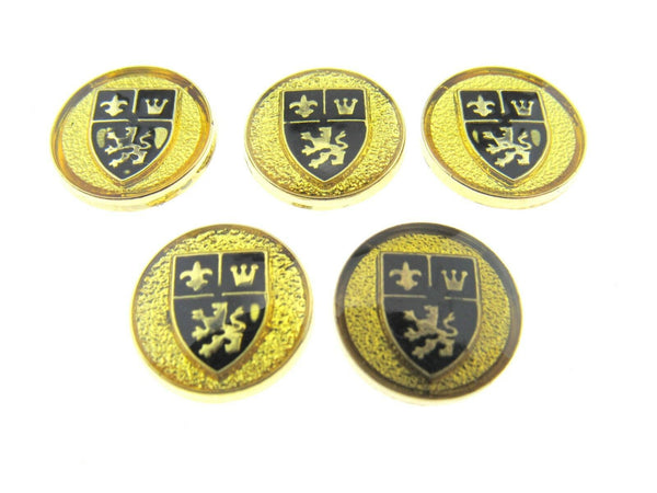 ** 5 x 15mm Gold Plastic Shank Buttons With Shield (Like Porsche Emblem) - ThreadandTrimmings