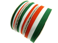 Irish Tricolour Faille Ribbon 15mm, 25mm, 35mm.  Whole Rolls Available - ThreadandTrimmings