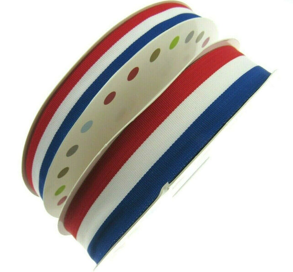 Red White & Blue Faille Ribbon 15mm, 25mm,  Whole Rolls Available UK/France/USA - ThreadandTrimmings