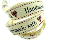 "** BERTIE'S BOWS ""HAND MADE WITH"" GROSGRAIN RIBBON 16mm - ThreadandTrimmings"