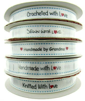 "** BERTIES BOWS WHITE ""LABEL"" GROSGRAIN RIBBON - 16mm"
