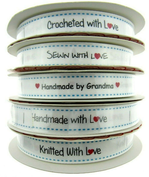 "** Bertie's Bows WHITE ""Label "" Grosgrain Ribbon - 16mm - ThreadandTrimmings"