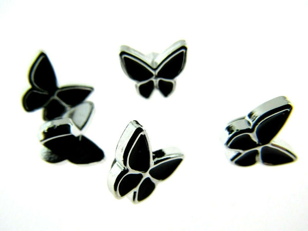 11mm PLASTIC BLACK UTTERFLY BUTTONS With SILVER COLOURED EDGE and SHANK - ThreadandTrimmings