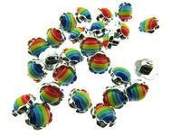 11mm Plastic Rainbow Daisy Buttons With Silver Coloured Edge and Shank - ThreadandTrimmings