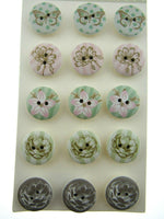15 Pack Assorted 20mm Painted Floral Buttons - ThreadandTrimmings
