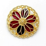 "ENAMELED GOLD COLOURED BUTTONS - 15mm - (19/32"") - ENAMEL METAL BUTTONS - ThreadandTrimmings"