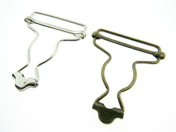 WIRE  OVERALL DUNGAREE CLIP in SILVER or ANTIQUE BRASS 38mm CX66 - ThreadandTrimmings