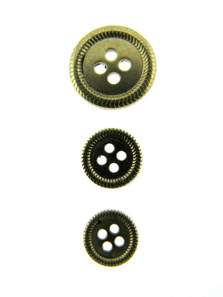 4 HOLE METAL BUTTONS - 4 COLOURS & 3 SIZES TO CHOOSE FROM - ThreadandTrimmings