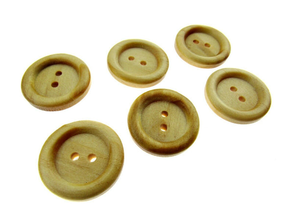 6 x TWO HOLE RING EDGE WOODEN BUTTONS - 2 SIZES AVAILABLE (CW2) - ThreadandTrimmings