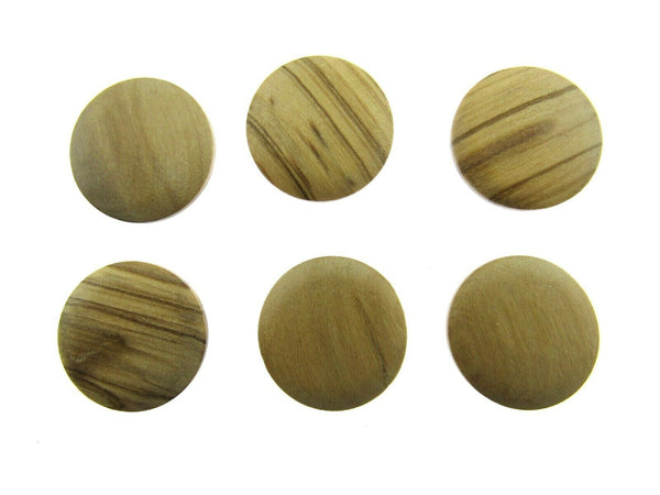 6 x WOODEN SHANK  OLIVE  WOODEN BUTTONS - 4 SIZES AVAILABLE (CW4) - ThreadandTrimmings