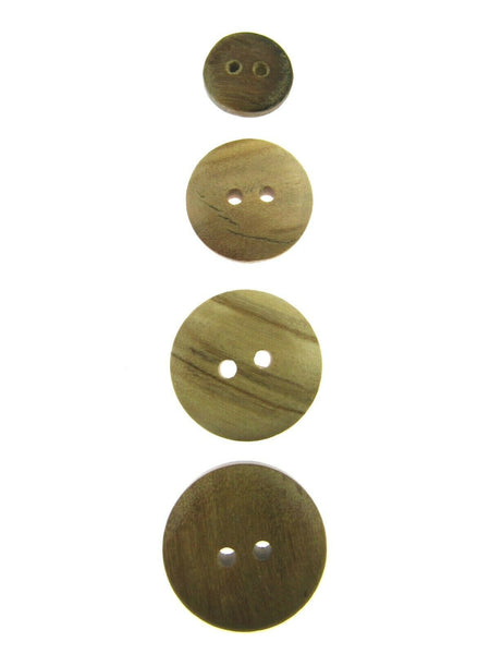 TWO HOLE DOMED OLIVE WOOD BUTTONS - CW6 - FOUR SIZES AVAILABLE - ThreadandTrimmings