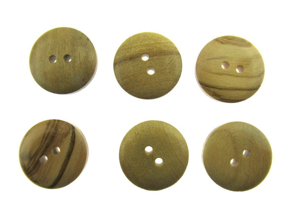 6 x 2-HOLE DOMED OLIVE WOOD BUTTONS - 4 SIZES AVAILABLE (CW6) - ThreadandTrimmings