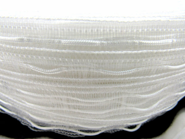 TRANSPARENT AUSTRIAN BLIND TAPE WITH DRAWSTRING /CORD / CURTAIN TAPE - 25mm WIDE - ThreadandTrimmings