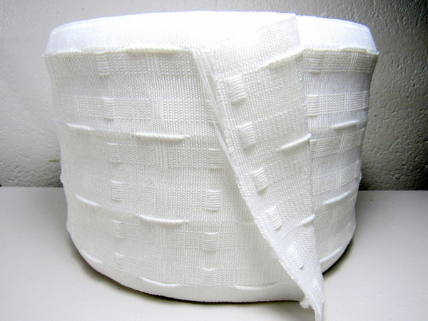 "WHOLE ROLL 145MM (6"") WHITE CURTAIN HEADER TAPE (50 METERS)  CT150B - ThreadandTrimmings"