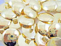 SHINY DOMED / BEVELED GOLD BLAZER BUTTONS PLASTIC - 3 x Sizes - WITH SHANK- CX1 - ThreadandTrimmings