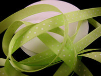 ** NARROW POLKA DOT SATIN RIBBON with WOVEN EDGE - 10mm -  8 COLOURS - ThreadandTrimmings