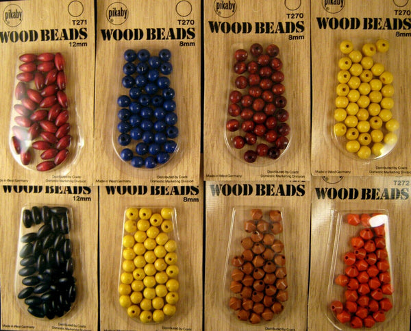 ** PIKABY WOODEN GLOSSY BEADS - JEWELRY BEADS - MADE by COATS