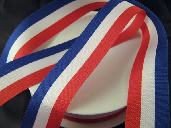 RED, WHITE & BLUE PATRIOTIC TRICOLOUR RIBBON 15mm, 25mm, 40mm - FRANCE USA UK