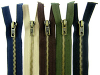 ** ANTIQUE BRASS METAL OPEN END ZIPS - 5mm WIDE TEETH - 5 COLOURS / 5 SIZES