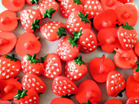 HAND PAINTED STRAWBERRY SHANK BUTTON  FOR BABY / CHILDRENS / CRAFTS APPROX 15mm