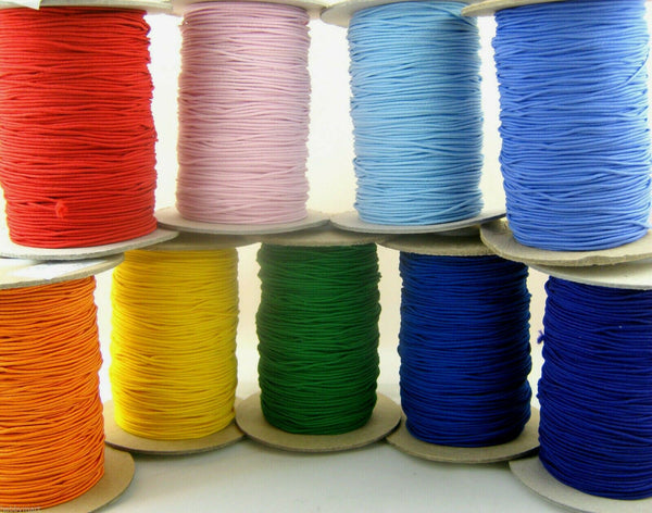 5m x 1mm ROUND CORD ELASTIC - HAT ELASTIC - ASSORTED COLOURS - ThreadandTrimmings