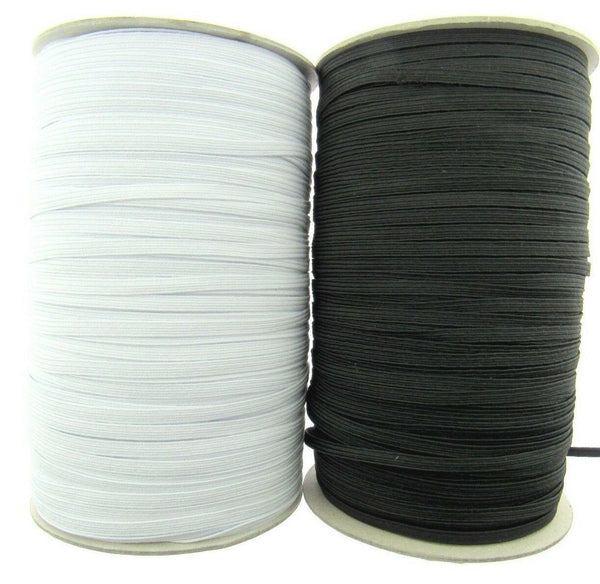 6 CORD ELASTIC - BLACK or WHITE ( 4mm APPROX) - ThreadandTrimmings