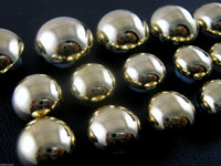 SMOOTH SHINY GOLD DOMED PLASTIC BUTTONS (B897)