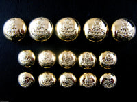 "GOLD ""GREEN HOWARD"" DOMED CRESTED MILITARY PLASTIC BLAZER BUTTONS - Shank B108"