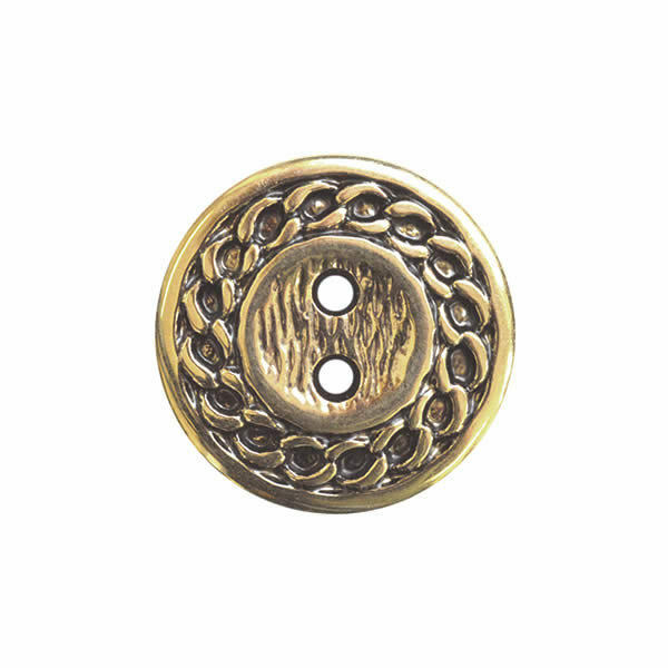 2 Hole Gold Plastic Buttons with Link Chain Design - 2 Sizes