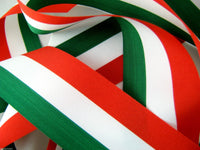 GREEN , WHITE & RED ITALIAN NATIONAL PATRIOTIC RIBBON - ITALY RIBBON