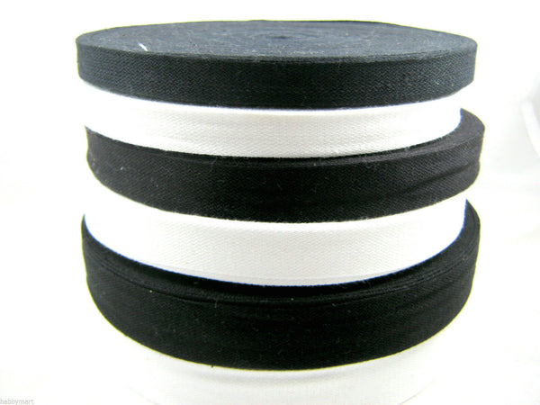 BLACK or WHITE 100% COTTON BUNTING TAPE 13mm /19mm /25mm WHOLE ROLLS COTTON TAPE