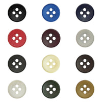 11.5mm Four Hole Shirt or Blouse Buttons - 12 Lovely Solid Colours (P650)