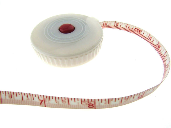 "60"" WHITE SPRING LOADED TAPE MEASURE IMPERIAL / METRIC 60"" & 150cm"