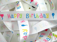 ** HAPPY BIRTHDAY RIBBON - WHITE SINGLE SATIN RIBBON with WOVEN EDGE