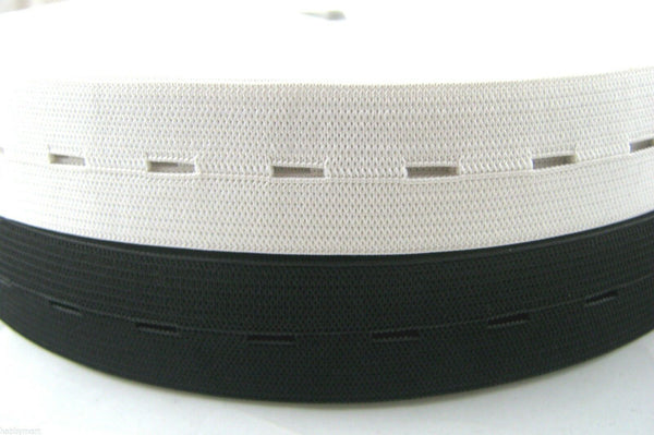 "FULL ROLL 30m x 25mm BUTTONHOLE ELASTIC (1"" approx) BLACK or WHITE"