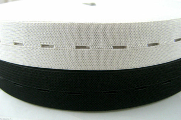 BLACK or WHITE BUTTONHOLE ELASTIC AVAILABLE in 16mm, 19mm or 25mm