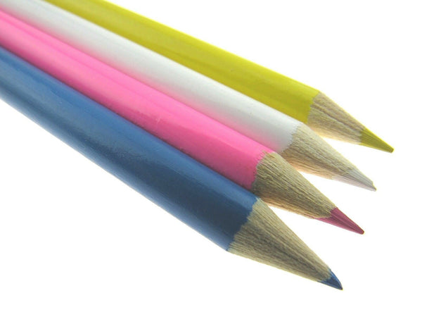 DRESS MAKER & QUILTERS CHALK PENCILS / WHITE YELLOW PINK BLUE PENCILS 17cm LONG
