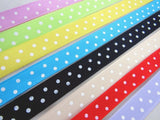 ** 8 x 1m of ASSORTED POLKA DOT SATIN RIBBON BUNDLES - 8 DIFFERENT COLOURS - ThreadandTrimmings