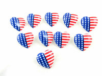 23mm USA HEART BUTTONS with SHANK - STAR SPANGLED BANNER HEART BUTTONS - ThreadandTrimmings
