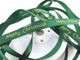 MERRY CHRISTMAS RIBBON - MERRY XMAS SATIN RIBBON - 10MM - ThreadandTrimmings