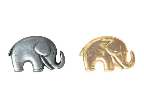 Metal Elephant Button in Gold & Silver 20mm x 14mm