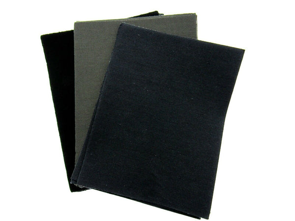 LOOSE IRON ON COTTON REPAIR PATCHES 10cm x 13cm - BLACK , NAVY & GREY