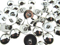 SMOOTH SHINY SILVER DOMED PLASTIC BUTTONS (B897)