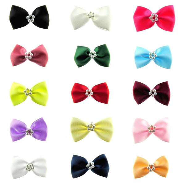 "** RIBBON ""BOW TIE"" BOWS with CIRCULAR PEARL RING (35mm x 22mm) (42212P)"