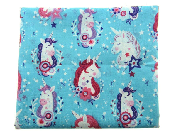 "** STUDIO E ""UNICORN KISSES"" FABRIC - FAT QUARTER - TURQUOISE , PINK , PURPLE"