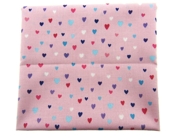 "** STUDIO E's ""UNICORN KISSES "" FAT QUARTER FABRIC PINK SCATTERED HEARTS BLENDER"