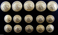 A SET of GOLD METAL MILITARY SHIELD BLAZER BUTTONS B1978 - ThreadandTrimmings