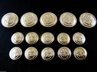 A SET of GOLD PLASTIC FS ANCHOR BLAZER BUTTONS - ThreadandTrimmings