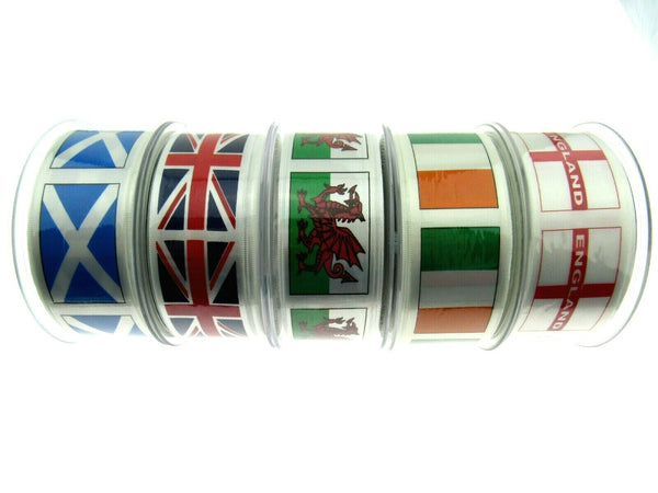 5m x WELSH, IRISH, SCOTTISH, ENGLISH FLAG RIBBON- 25mm / 35mm BERISFORDS RIBBON